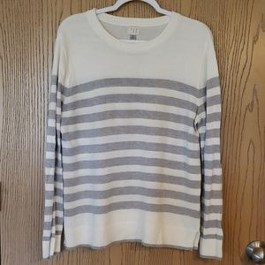 White and Grey Striped Sweater